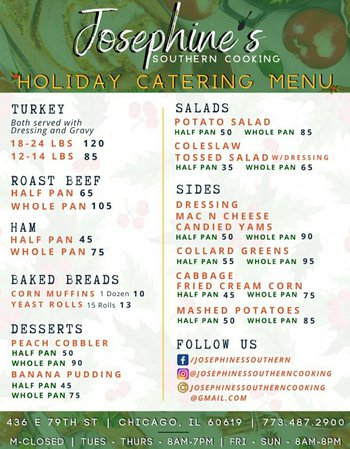 Josephines Cooking Holiday Menu